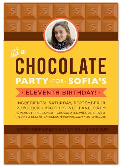 birthday party invitations Chocolate Bar at Mintedcom