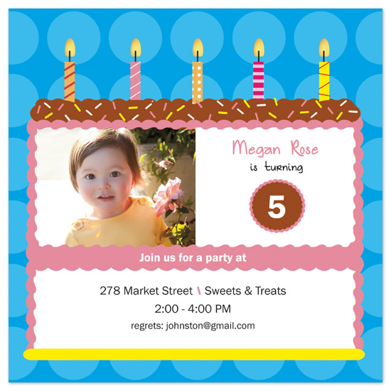 birthday party invitations - Big sprinkle cake by Bella Expressions-Linda Birtel