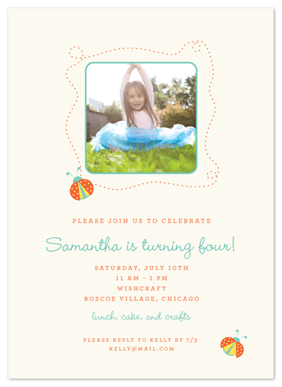 birthday party invitations - Oh, Ladybug! by Paper Dahlia