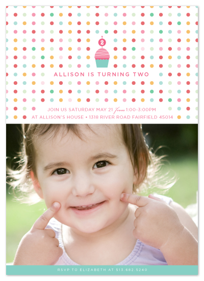 birthday party invitations - Pretty Polka Dot by Carrie ONeal