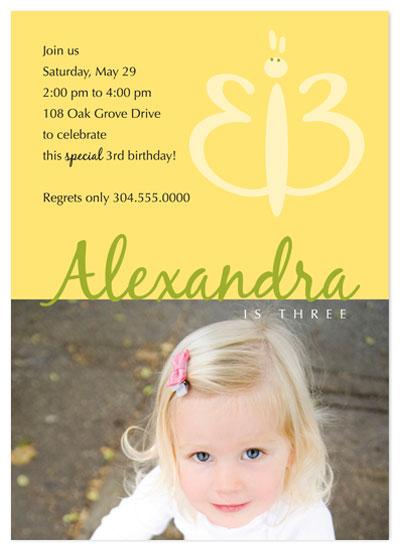 birthday party invitations - Third Birthday Butterfly Invitation by Beverly Surratt