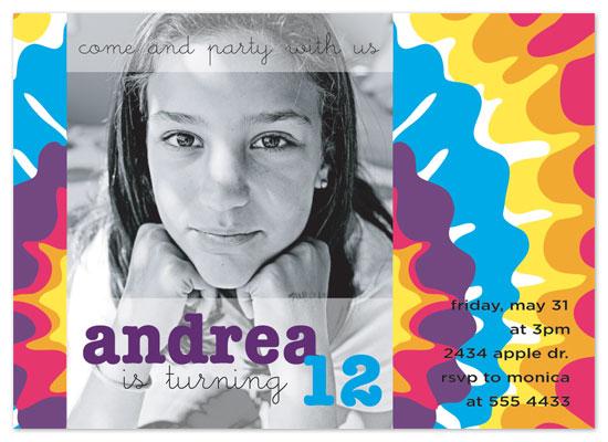 birthday party invitations - tie dye celebration by Gaby Contreras