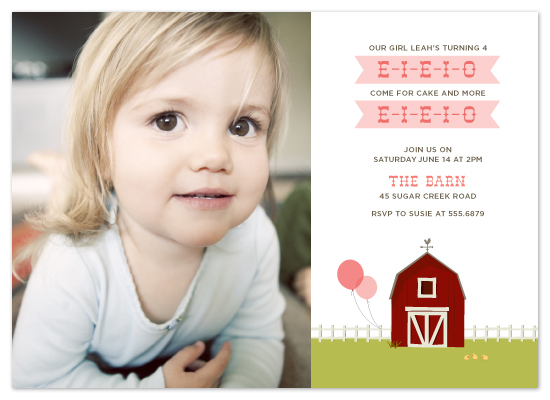 birthday party invitations - e-i-e-i-o by Laura Coggins