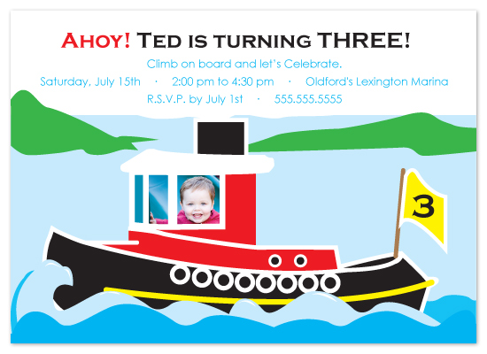 birthday party invitations - Little Tugboat Party by Jennifer C