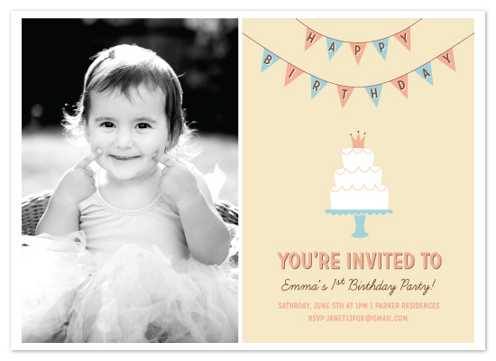 birthday party invitations - Cake and Banner by Brooke Chandler