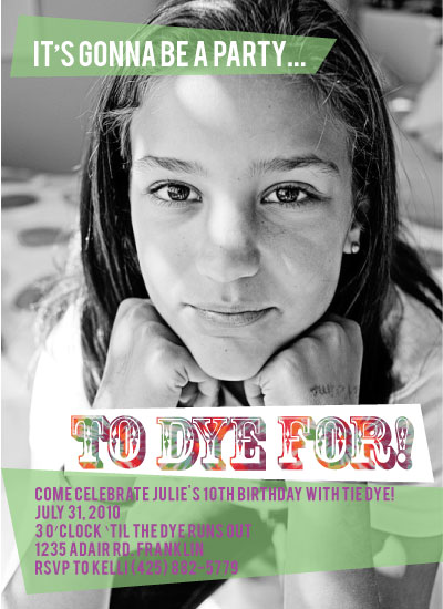 birthday party invitations - Party to Dye For by Claire Marco