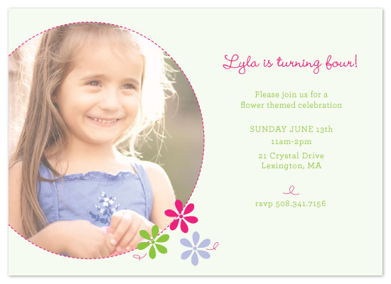 birthday party invitations - Pretty Floral by Red Turtle