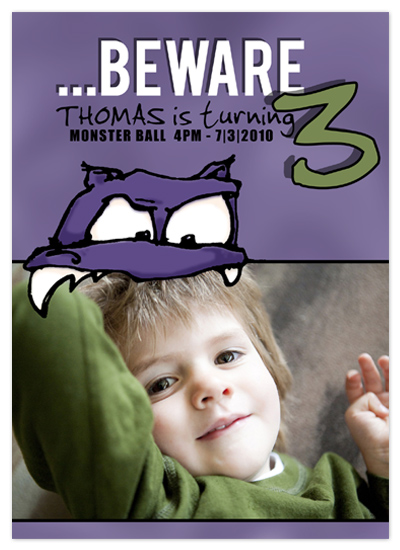 birthday party invitations - Purple People Eater by www.project1128.com