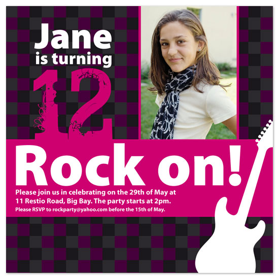birthday party invitations - Rock Chic by Clare Schenk