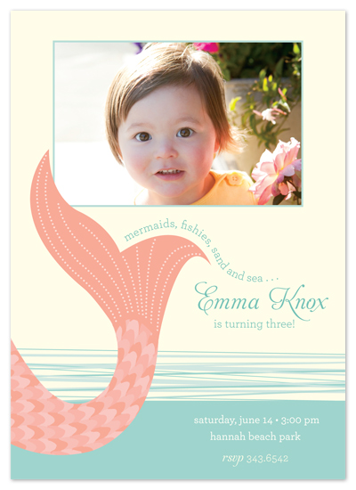 birthday party invitations - pink mermaid by Carrie Eckert