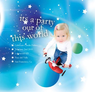 birthday party invitations - planet2 by Aleida Armijo