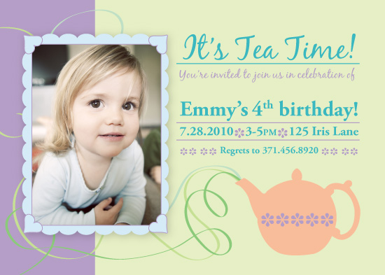 birthday party invitations - Whirly Twirly Tea Party by Fanny Ann