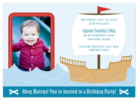 birthday party invitations - Ships Ahoy! by Eutopia Events