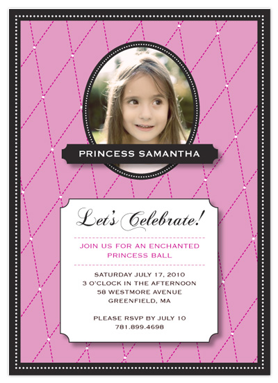 birthday party invitations - Quilted Princess by Eutopia Events