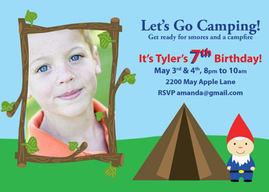 birthday party invitations - Camping With Gnomes by Fanny Ann