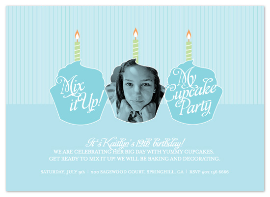 birthday party invitations - Mix It Up Cupcake Party by Heidi