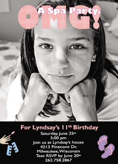birthday party invitations - OMG! Its a Spa Party by Lisa Saliture