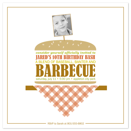 birthday party invitations - burger bash by Karen Glenn