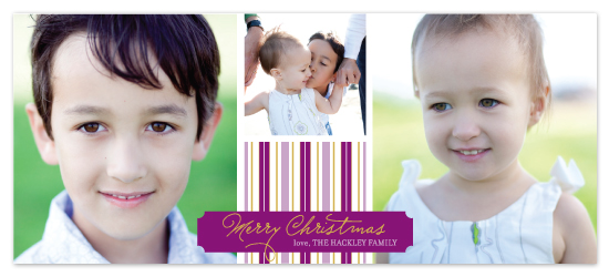holiday photo cards - violet striped holiday by Katie Leggitt