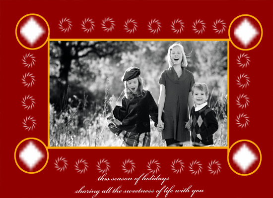 holiday photo cards - red with yellow circle of freindship by Pranshu Kumar Chaudhary