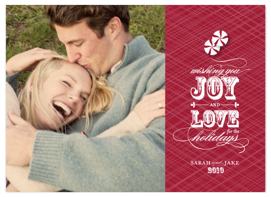 holiday photo cards - Joy + Love by Three Kisses Studio