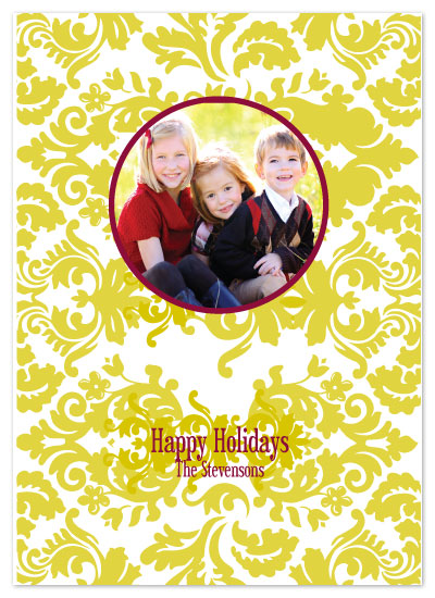 holiday photo cards - Holiday Damask by Etched