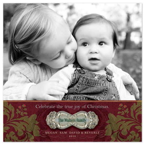 holiday photo cards - festive nameplate by Beverly Mayes