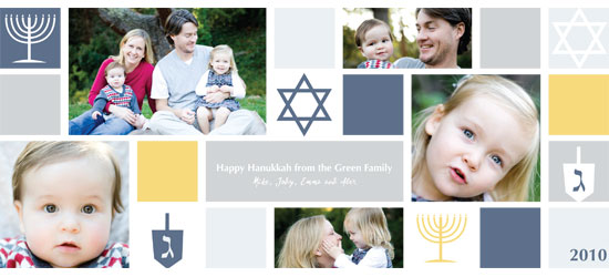 holiday photo cards - Happy Hanukkah Grid Photo Card by Katie Downs Carew