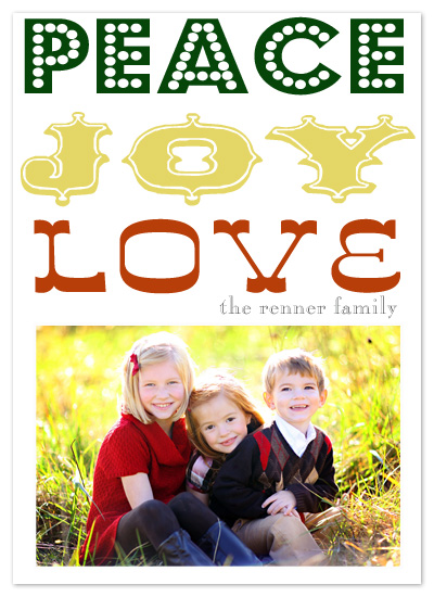 holiday photo cards - Peace, love & Joy by Epitome by Renner Design