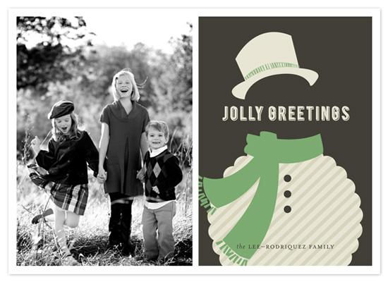 holiday photo cards - JOYEUX NOËL + snowman by Emily Ranneby