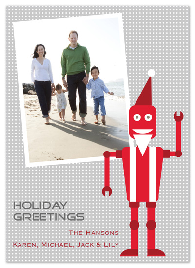 holiday photo cards - Robot Santa by PS