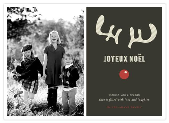 holiday photo cards - JOYEUX NOËL + reindeer by Emily Ranneby