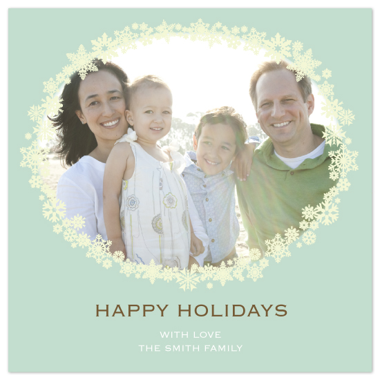 holiday photo cards - Snowflake Wreath on TIffany Blue by Sarah-fina