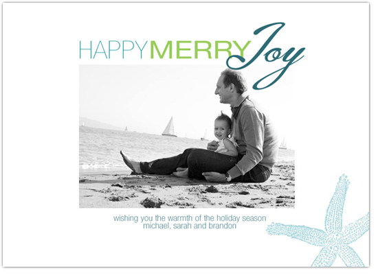 holiday photo cards - Happy Merry Joy Beach Colors by MaccLin Creative