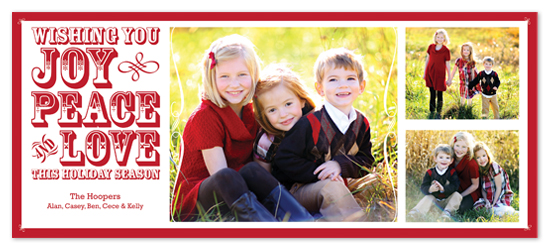 holiday photo cards - Joy, Peace, and Love by C Paperie