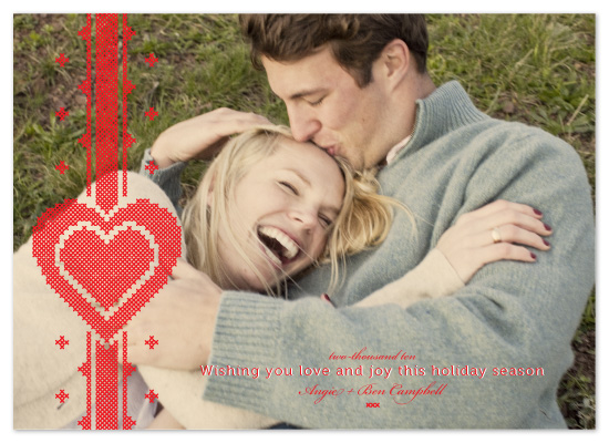 holiday photo cards - Cross Stitched Lovers by 2birdstone