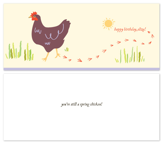 birthday cards - spring chicken! by Lauren Fasnacht