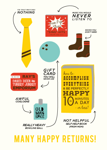 cards - Many Happy Returns by leslie hamer