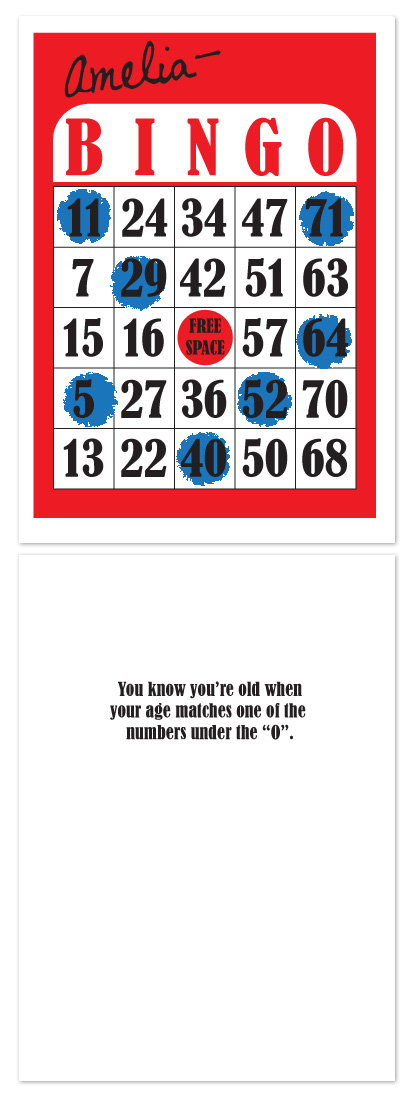 birthday cards - Bingo by Audrey Clayton