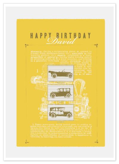 birthday cards - Vintage Cars Birthday Card by vinnie pearce