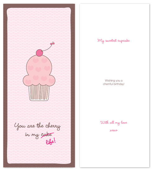 birthday cards - sweet cupcake by P.S Designs