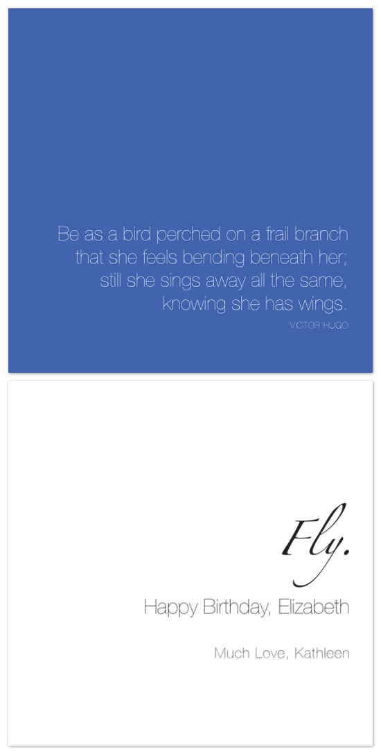 birthday cards - She Has Wings by irwin, ink.