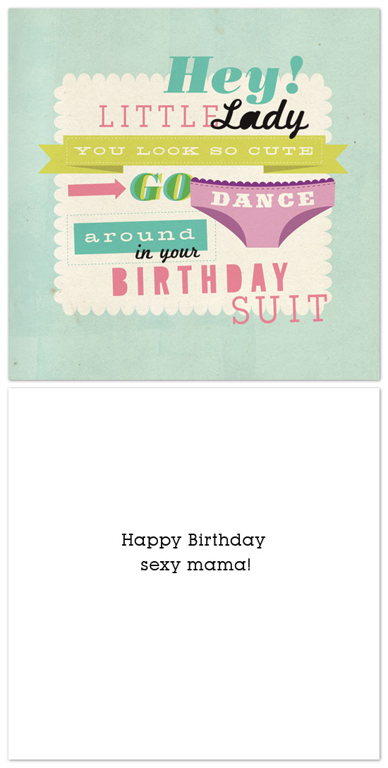 cards - birthday suit dance party by We Hold Hands