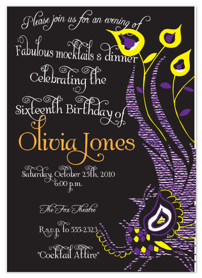 party invitations - Peacocks and Mocktails! by Etched