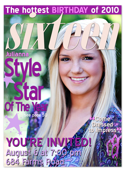 party invitations - Sixteen Magazine Cover by The Picture Portal