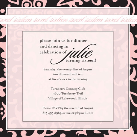 party invitations - Pink & Black 16 by Roxanne O'Brien