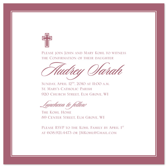 party invitations - Classic Rose Confirmation by Rachel Barnes