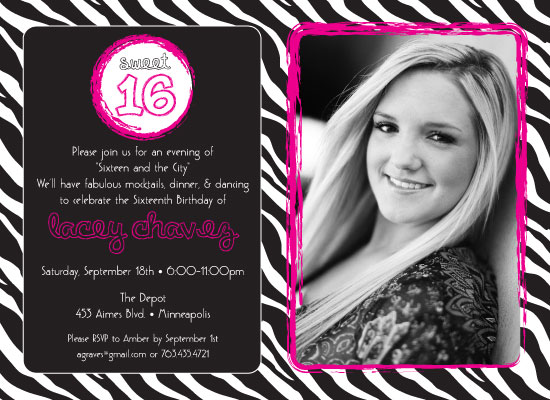 party invitations - Sixteen and the City by Kim Nelson