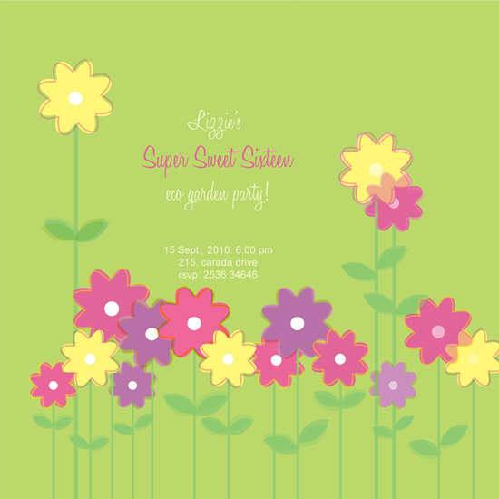 party invitations - garden party by P.S Designs