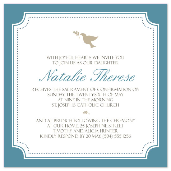party invitations simple dove confirmation invite at minted com